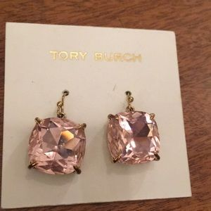 Tory Burch pink crystal earrings